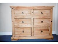 Mexican Pine (Corona style) chest of drawers and double wardrobe