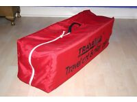 TRAVEL COT / PLAY PEN . Fold away and converts to a put up cot or play pen .