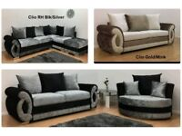 UK EXPRESS DELIVERY | CLIO 3+2 OR CORNER SOFA IN CRUSHED VELVET GOLD & MINK | 1 YEAR WARRANTY