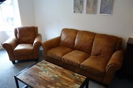 PRICE DROPPED - Top Quality Leather 3 seater and Arm Chair