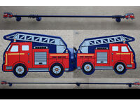 Metal extendable (142-244cm) curtain pole + fire engine finials and a blue light