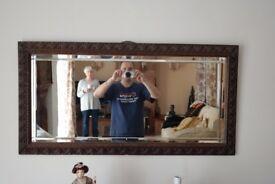 large Antique Wooden Framed Mirror