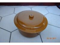 Family size Clay Casserole Dish. Light Brown.