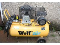 Wolf Air Compressor 240v 90L Belt Drive 3HP 14CFM 150psi Twin Cylinder plus air tools