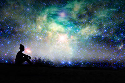 Silhouette Of A Woman Sitting Outside Starry Night Background Poster 18x12