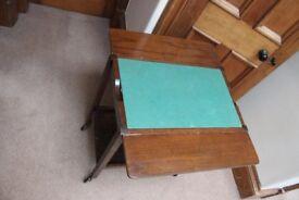 Dark wood wheeled trolley & card table 56 by 40 (or 74) by 76cm