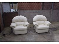 Two Cream Electric Recliner Leather Armchairs