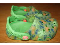 Child's Green Sealife theme genuine Crocs size 8-9 lightly used and in excellent condition