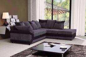 Dino Black N Grey Colour Cord Corner Sofa With Big Footstool - Fibre & Foam Seat