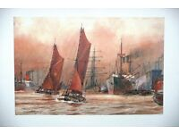 Sailing barges at Blackwall Point are featured in this outstanding unframed print