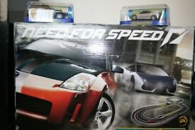 'Need For Speed' Scalextric racing car set plus 2 extra cars (HM Costguard LandRover & Ferrari F430)