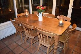 Solid wood farmhouse table - seats up to 8 people (Chairs not included)