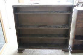Dark Oak Bookcase with Sliding Glass Doors and Wooden Shelves