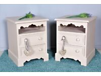 DELIVERY OPTIONS - 2 PAINTED SOLID PINE BEDSIDE TABLES 2 DRAWERS CHALK PAINT