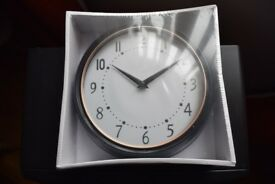9 Inch Wall Clock - Black & Copper - New and Boxed