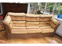 Beautiful Rattan Sofa with Reversible Cushions