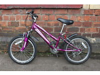 """Girl's mountain bike bicycle 6 speed gears 18"""" suit age 5 - 8 great condition"""