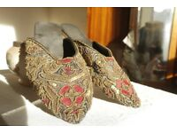 Indian Handmade Beaded Slippers, size 38