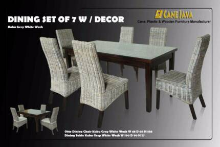 DINING SET OF 7 PCS  RATTAN KUBU GREY WHITE WASH (ORDER NOW) Dandenong South Greater Dandenong Preview
