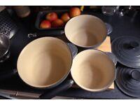 Le Creuset Cast Iron Saucepans - Set of 3
