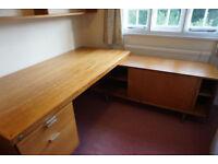 9) L-shaped office desk, light oak wood, suspension file drawer & four 70 cm shelves