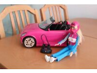 Barbie sports car and doll