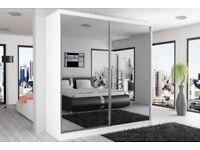 CHEAPEST PRICE EVER -- Brand New Chicago Fully Mirror Sliding Door Wardrobe in White Black Wenge Oak