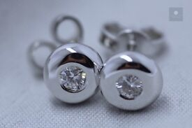 New 18ct WG 0.20ct Diamond Stud Earrings - H-I SI2