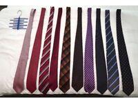Set of 10 ties + tie hanger; red, blue, brown, purple