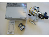 Shimano Exage 3000 srcdh fishing reel spare spool, boxed, spooled w braid, rear drag, course / river