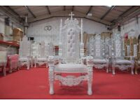 1 x New White King Crucifix Throne Chair Wedding Events Luxury Carved Furniture Italian Throne