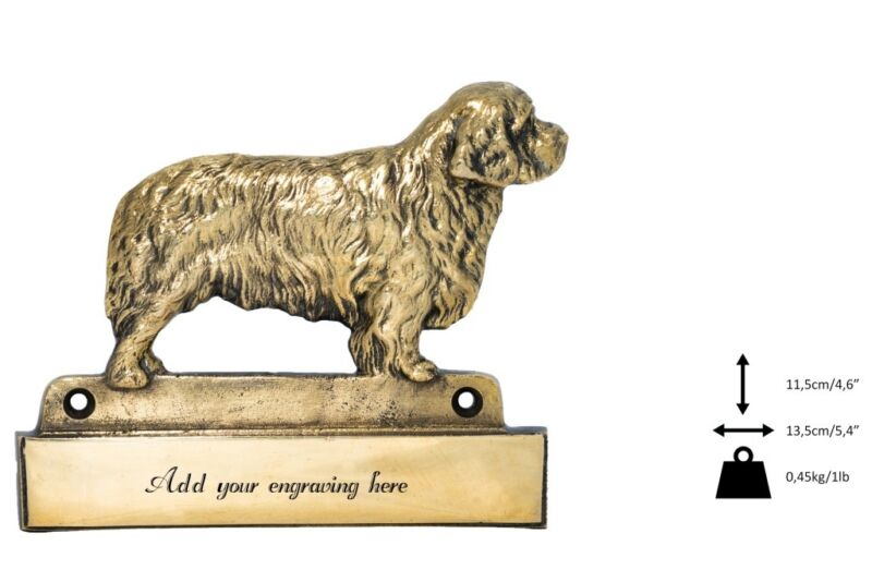 Clumber Spaniel - brass tablet with image of a dog, engraver, Art Dog USA