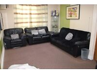 MUST SEE-3 piece DFS premium black leather sofa suite corner set