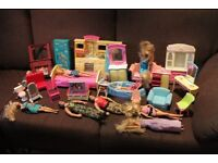 JOB LOT OF BARBIE FURNITURE AND DOLLS