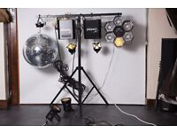 Disco Party Light Set with Stand (2 moving heads, 1 chaser, 1 disco ball, 2 spots)
