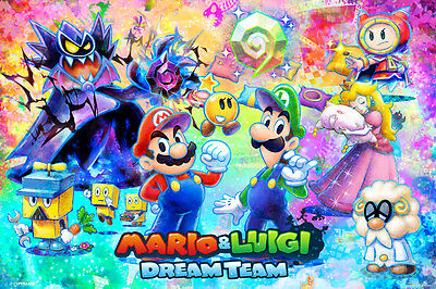 Mario and Luigi Dream Team Nintendo 3DS RPG Video Game Poster - 18x12