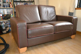 Faux Leather Brown 2-Seater Sofas - Matching pair