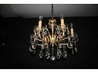 ANTIQUE FRENCH CHANDELIER 6 ARM VINTAGE BRASS CEILING LIGHT Ref: GMY21