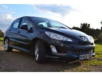 Black Peugeot 308 1.6 HDI 5 door hatchback