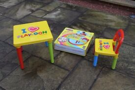 Collapsible Play-doh Plastic Table and Chair - Suitable for age 2 - 5 (depending on size)