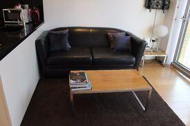 Sofa - black leather £34