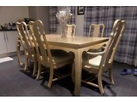 Solid Dining Table & 10 Chairs With Matching 2 piece Dresser