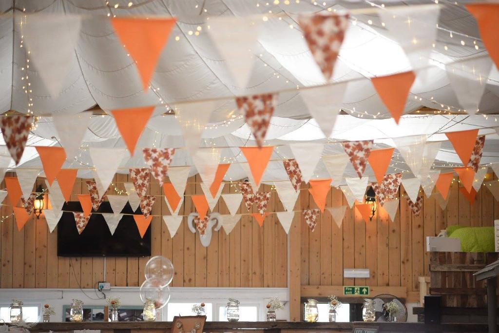 100metre of handmade autumnal wedding bunting