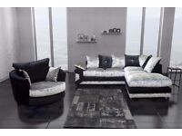 Brand new Dino Corner and 3 + 2 Sofa available in crush velvet and jumbo cord --Same Day Delivery--
