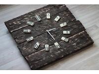 Pallet Wood Wall Clock Domino Art Industrial Vintage Rustic Retro shabby Chic
