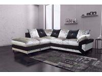 Brand New Dino Double Padded Diamond Crushed Velvet Corner Sofa Or 3+2 Sofa