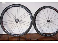 Campagnolo Bora One 35 carbon wheelset with bags. Campag hub. With Kenda tubs