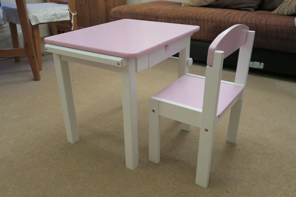 Pink White Wooden Toddler Desk And Chair