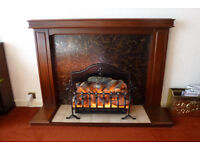 Mahogany Fire Surround and Electric Fire