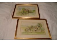 SET OF FOUR FRAMED RURAL SCENE WATERCOLOUR PAINTINGS